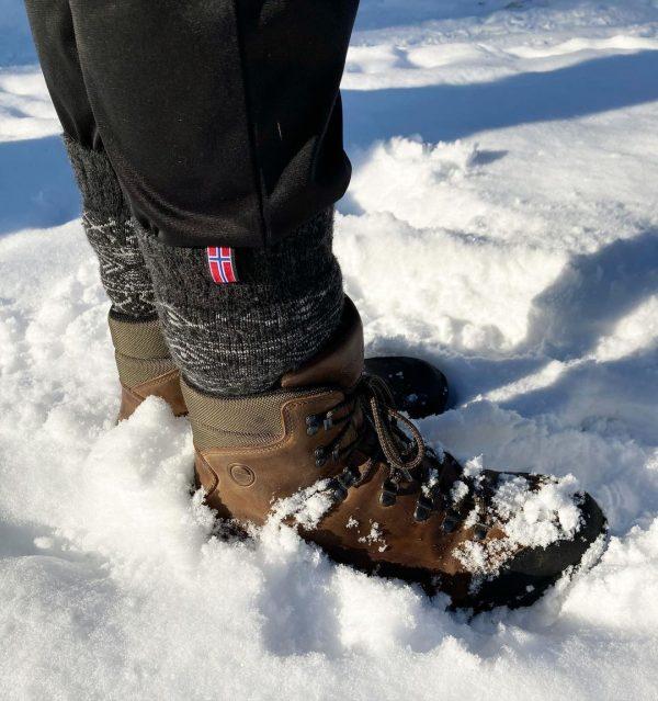 Ponožky z 80% vlny s Nórskou vlajkou ČIERNA/SIVÁ