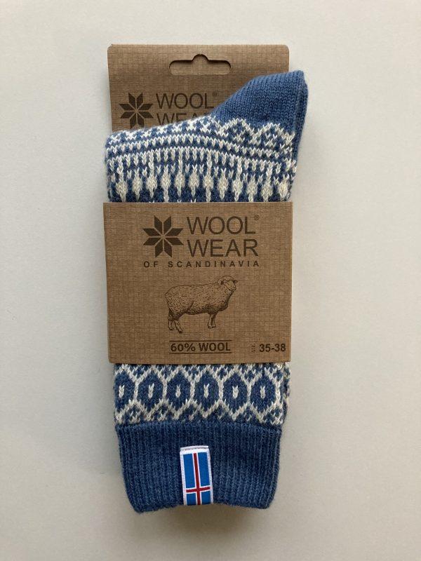 Ponožky zo 60% česanej vlny s Islandskou vlajkou